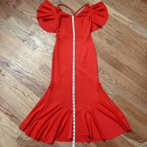 NWT Mermaid bodycon strappy dress S orange red